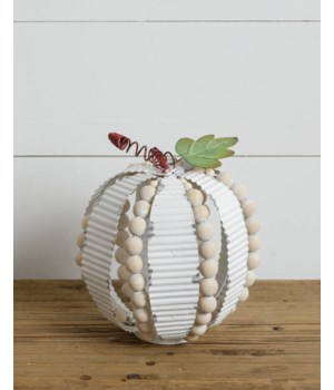 Corrugated Metal And Beads Pumpkin, Sm