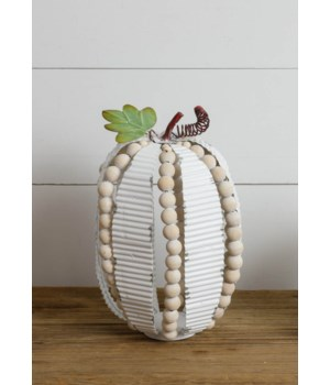 Corrugated Metal And Beads Pumpkin, Lg