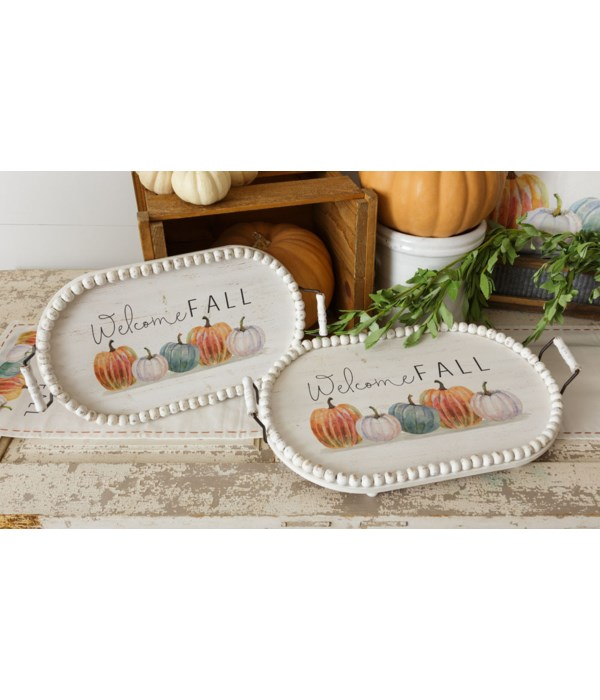 Welcome Fall Trays - Oval with Beaded Edge