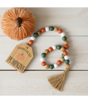 Embossed Print Farm Fresh Pumpkin Beads