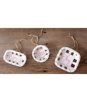 Mini Baskets - Joy, Gather, Christmas Is Family 1.5 in. x 5 in. x 5 in.Pk03A