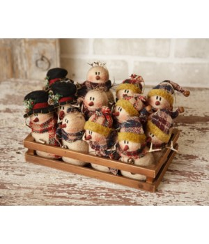 Plaid Partners - Snowmen In Wood Crate