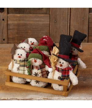 Wooden Crate With 9 Snowmen
