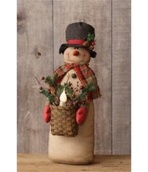 Snowman - Holding Basket, Candle