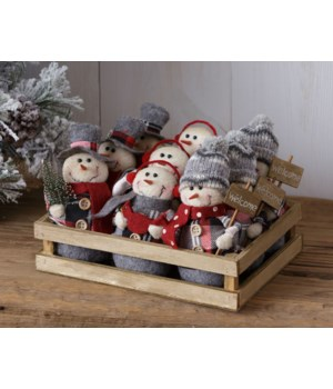 Cozy In Plaid - Wood Crate With 9 Snowmen Ornaments