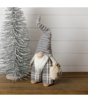 Standing Gnome with Bag - Gray Plaid Pants, Gray Hat