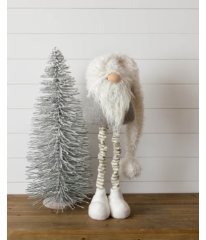 Standing Gnome - Gray, Gold Stripe Legs, Shaggy Hat, Lg