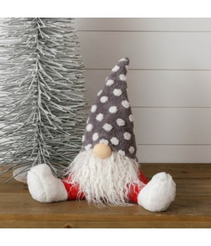 Sitting Gnome - Red Pants, Gray Dot Hat