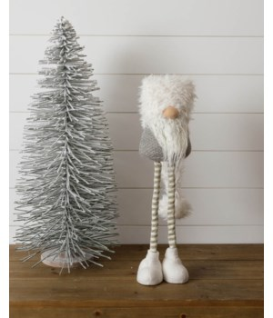Standing Gnome - Gray, Gold Stripe Legs, Shaggy Hat, Sm