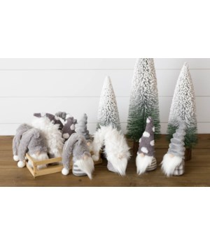 Gray Gnome Ornaments, Shaggy Hats In A Crate