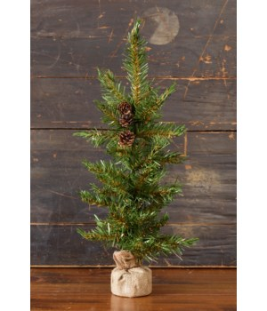 Christmas Pine With Cones -  Burlap Base