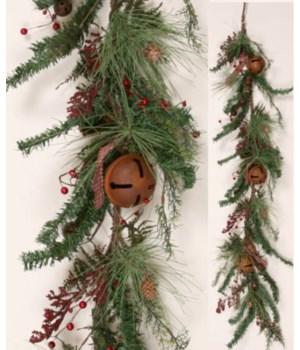Garland - Winter Greens With Rusty Bells