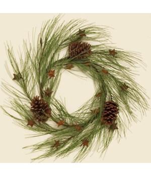 Wreath - Long Pine Needle With Rusty Stars & Cones
