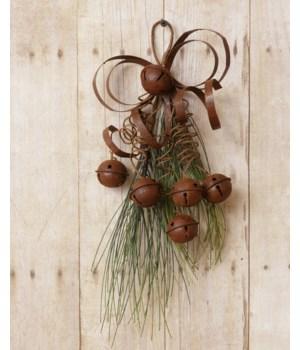 Teardrop - Rusty Bells, Ribbon & Pine