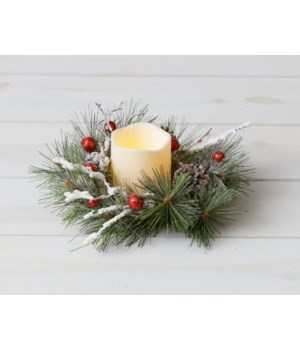 Candle Ring - Frosted Pine, Red Glitter Balls, Cones