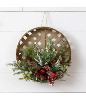 Tobacco Basket Assorted Frosted Greens, Berries, Bow