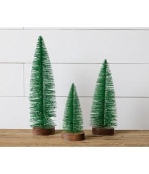 Bottle Brush Trees - Wood Base, Green Glitter