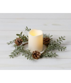 Candle Ring - Frosted Boxwood, Cones