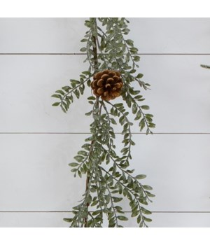 Garland - Frosted Boxwood, Cones