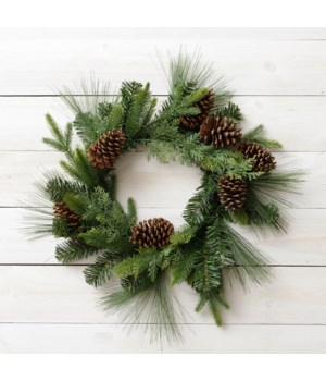 Wreath - Assorted Greens with Pinecones