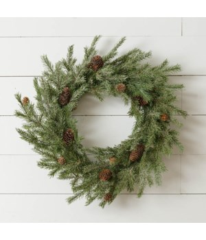 Wreath - Balsam Fir With Pinecones And Snow