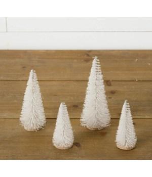Bottle Brush Trees - Glitter, White