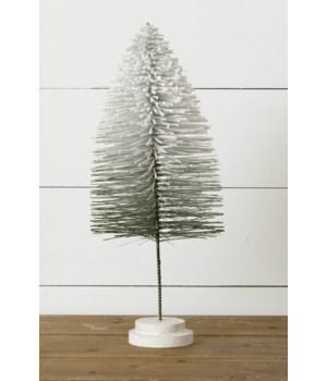 Stem Bottle Brush Tree - Flocked With Glitter, Green, Lg
