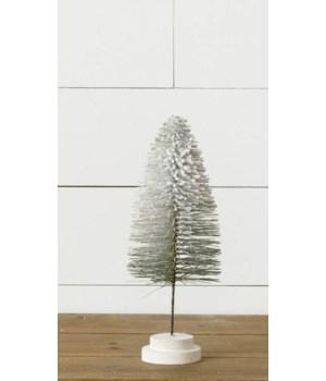 Stem Bottle Brush Tree - Flocked With Glitter, Green, Md