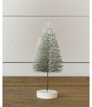 Stem Bottle Brush Tree - Flocked With Glitter, Green, Sm