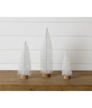 Bottle Brush Trees - Wood Base, Frosted White Glitter