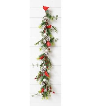 Garland - Evergreens, Berries, Snowflake, Cardinals, Cone