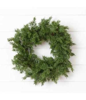 Wreath - Real Feel Cedar, Twig Base