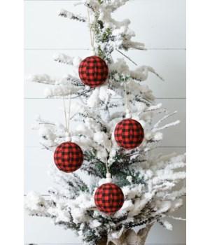 Ornaments - Red & Black Fabric Buffalo Plaid