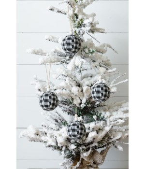 Ornaments - White & Black Fabric Buffalo Plaid
