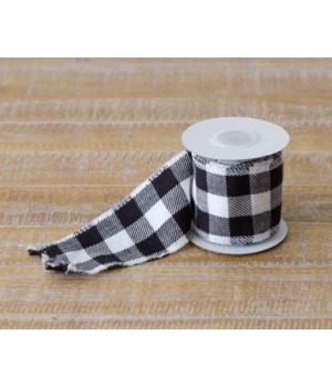 Woven Black And White Buffalo Plaid Wired Ribbon