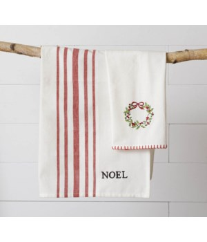 Embroidered Wreath and Noel Tea Towels