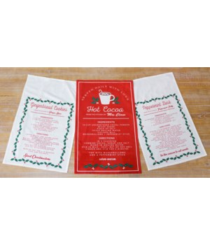 Recipe Tea Towels - Cocoa, Peppermint Bark, Gingerbread