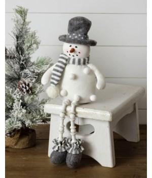 Pom Pom Snowman Shelf Sitter, Gray Scarf