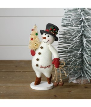 Snowman With Bells And Bottle Brush Tree - Figurine