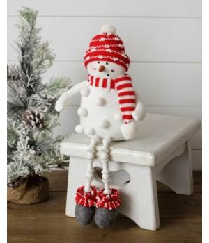 Pom Pom Snowman Shelf Sitter, Red Scarf