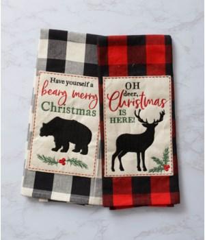 Tea Towels - Buffalo Plaid Bear & Deer