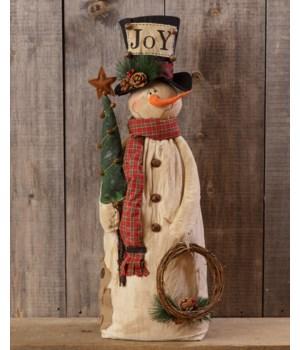 Snowman with Tree, Wreath & Top Hat - Joy