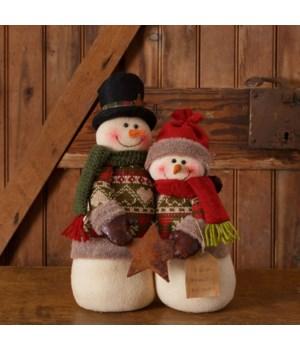 Snow Lodge - Snowman Couple With Star Faith, Family, Friends