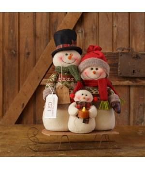 Snow Lodge - Snowman Family On Sled, Led Light