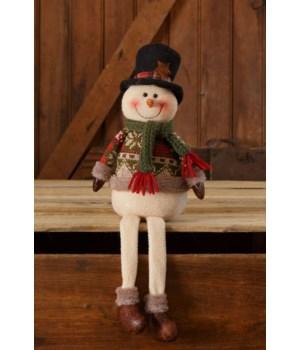 Snow Lodge - Snowman Sitting, Green Scarf