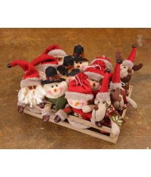 Snow Lodge - Ornaments In A Crate Reindeer, Santa & Snowmen
