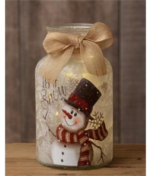 Large Glass Jar With Lights And Burlap Bow - Snowman