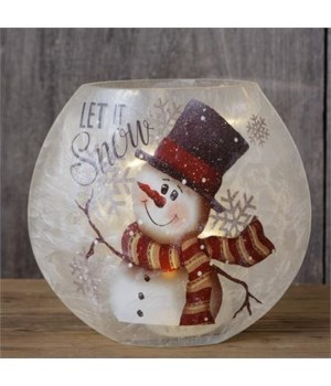 Frosted Glass Luminary - Let It Snow Circular