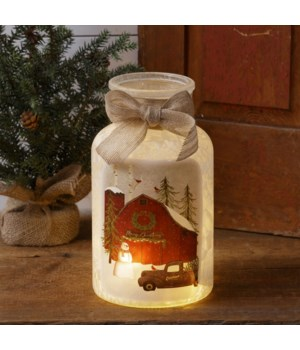 Frosted Glass Luminary - Merry Christmas