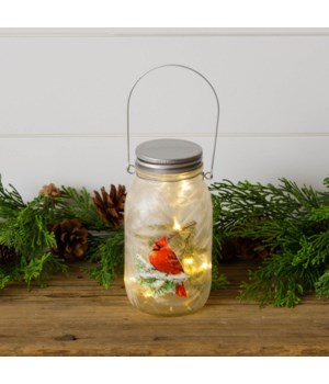 Frosted Glass Mason Jar - Cardinal On Snowy Branch